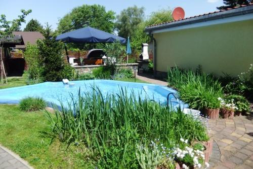 Pool und Ferienhaus vom hinten